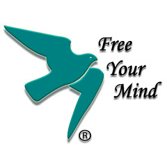 """Psych-K - Logo: un uccello azzurro in volo e la scritta """"Free your mind"""""""