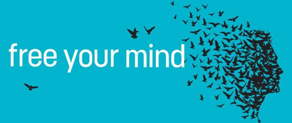 """Psych-K - Altro Logo: un volto umano composto da uccelli che spiccano il volo e la scritta """"Free your mind"""""""